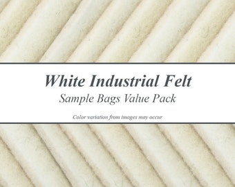 Natural White Industrial Wool Felt Samples Value Pack - Only Natural White Felts, Includes Samples for 4 Densities of Felt