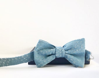 Boys Chambray Adjustable Bow Tie