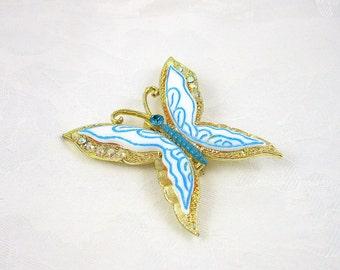 Vintage Rhinestone Butterfly Brooch Enamel Goldtone
