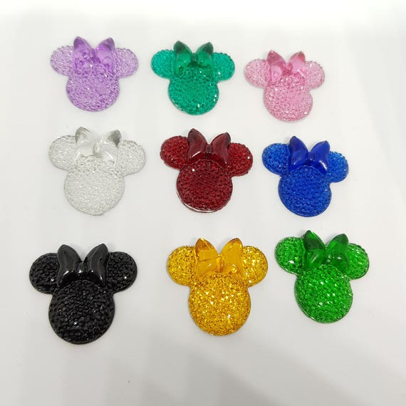 MajorCrafts® 6pcs Mixed Colours 28mm Flat Back Mouse Head & Bow Resin Rhinestones Gems