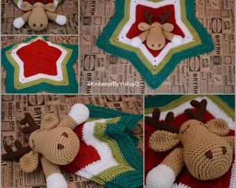 Crochet baby blanket deer, Crochet baby comforter, Christmas deer baby, security cuddle blanket, lovey, gender neutral baby shower gift