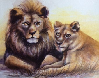 Watercolor Lion and Lioness 8x11 inch (Print)