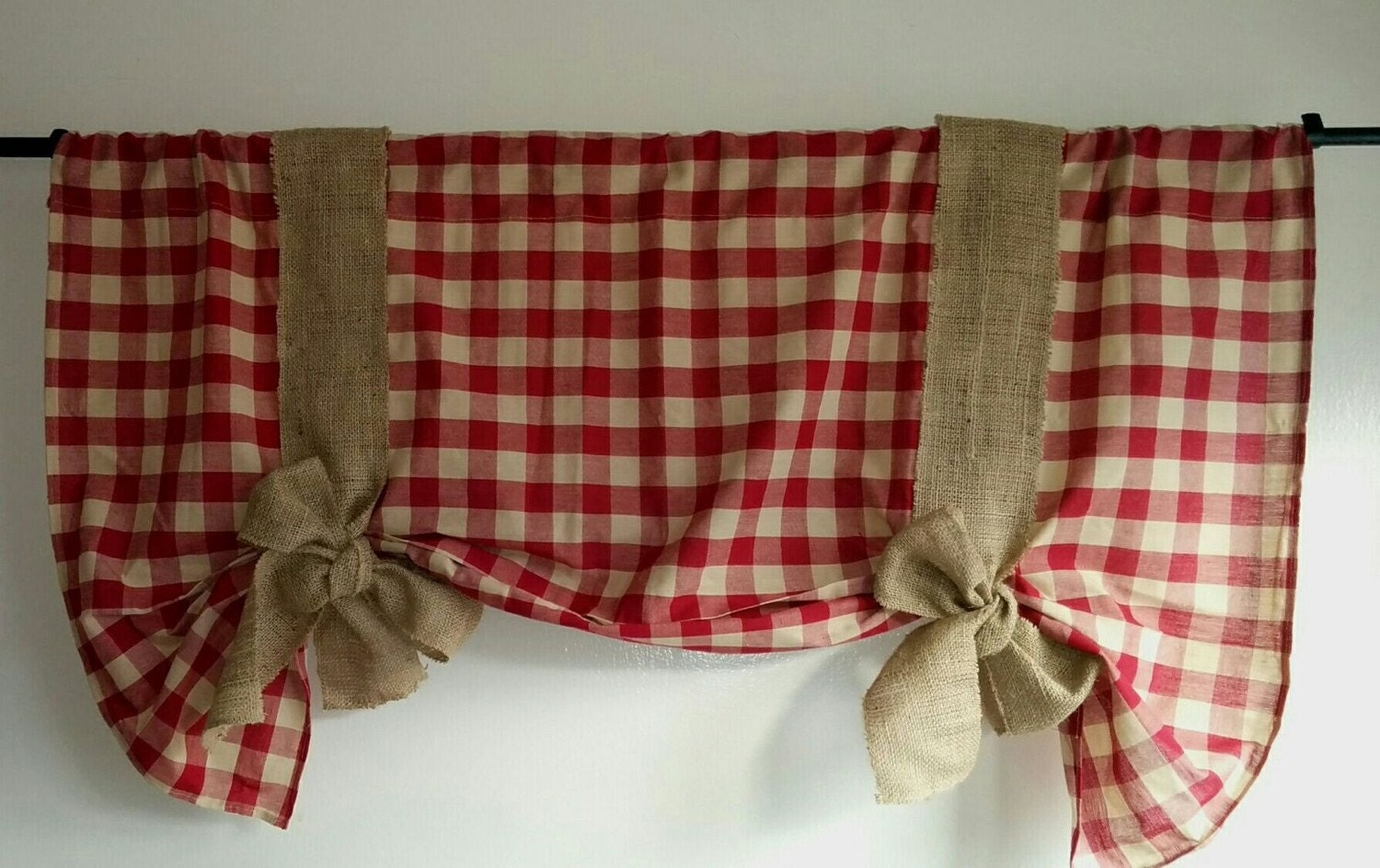 Burgundy Gingham Tie Up Valance with natural burlap tie