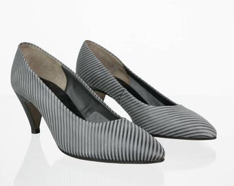 Striped vintage shoe boots in grey 39.5