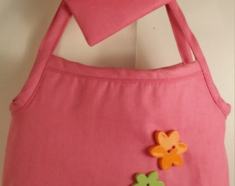 Pink w/ large flower buttons little girl's purse
