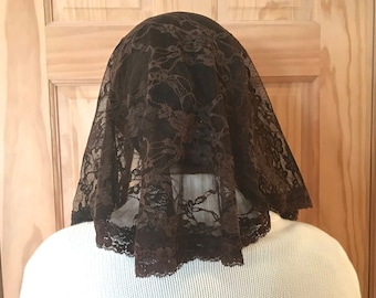 Small Adult/Children's Handmade Catholic Chapel Veil/Mantilla: Brown Floral Lace with Decorative Trim in Semicircle Style