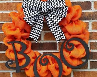 """18"""" Orange Burlap BOO Halloween Wreath"""