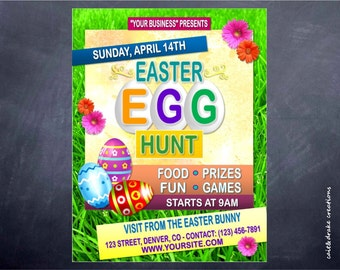 Easter Egg Hunt Holiday Flyer Digital Printable