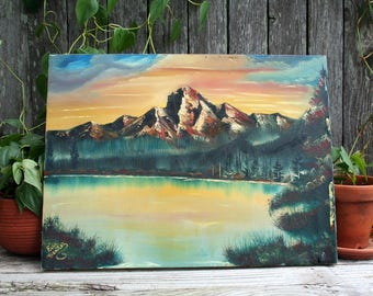 Original Mountain and Lake Painting In Earth Tone Colors