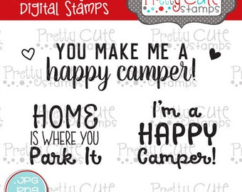 Happy Camper Sentiments DIGITAL Stamp Set