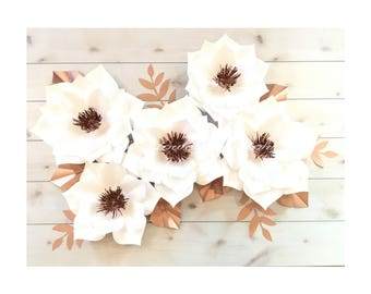 White and copper paper flower set