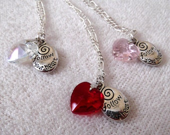 Pendant Necklace, Red Pink or Clear Crystal Heart with Follow Your Heart Charm, Birthday Anniversary Gift, Valentines Day, ID 175599831