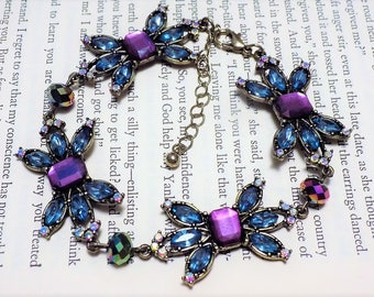 Blue and Purple Art Deco Inspired Bracelet