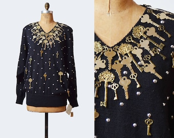 Vintage 80s Black and Gold Key Sweater / 1980s Slouchy Knit V Neck Sweater m