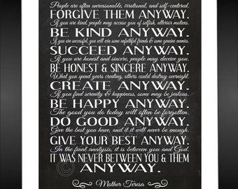 Mother Teresa Do It Anyway Quote   INSTANT DOWNLOAD Printable Wall Art Home  Office Decor