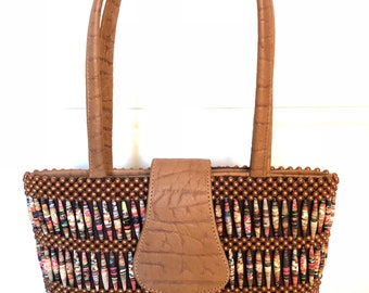 Brown Leather Handbags/Beaded Handbags/Recycled Handbag/Leather/Handmade Handbags/Shoulder Bags/Top Handle Bags/Gifts for her