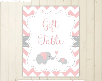 gift table sign cards and gifts sign chevron baby shower elephant sign pink baby shower sign elephant baby shower sign pink and grey 105