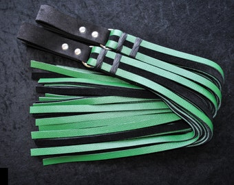 Set of 2, Heavy Finger Floggers in black and forest green leathers