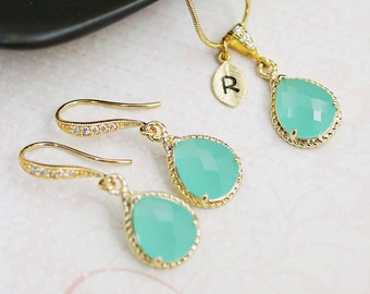 Wedding Jewelry bridesmaid gift bridesmaid necklace Bridesmaid Jewelry Set Personalized Mint opal glass necklace and dangle earrings