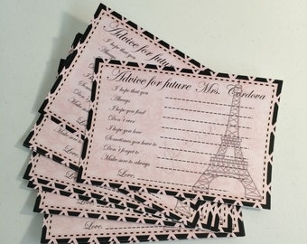 Paris Bridal shower game cards decorated 12pc
