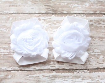 White Baby Barefoot Sandals - Matching Headband Option - Baby Barefoot Sandals Headband Set - Baby Shoes, Baby Headband