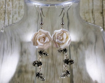 White Rose Earrings | Flower Earrings  | Rose Jewelry | Floral Earrings | Flower Jewelry | White Earrings | Gift for Her Under 25 Dollars