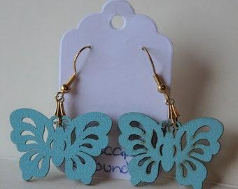 Pretty blue wooden butterfly earrings
