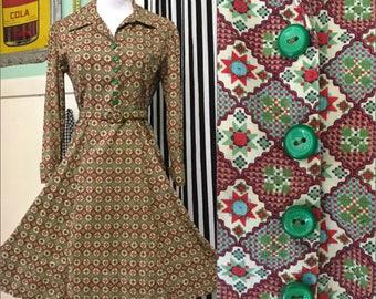 Amazing True Vtg 40s/50s Shirtwaist Cotton Day Dress-Fit & Flare-Rare Op Art Print-S/M