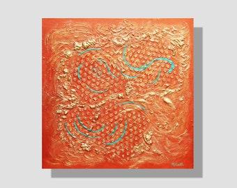 """Peinture abstraite contemporaine à l'acrylique sur toile. """"Libre-arbitre"""", tableau carré cuivre, or, turquoise. Peinture texturée métallisée"""