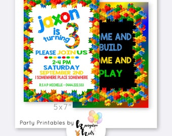 Birthday Invitations, Kids Block Birthday Invitation, Kids Birthday Invitations Digital, Personalized Birthday, Printable Invitation