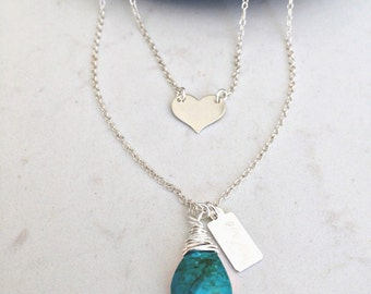 layered turquoise necklace personalized heart necklace silver heart necklace heart jewelry layered turquoise necklace turquoise jewelry gift