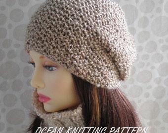 KNITTING PATTERN/ OCEAN/ Womans Slouch Beanie Hat/ Wool-free yarn/Simple Beanie/Knit Straight/ Slouch Beanie Pattern/GirlsHat