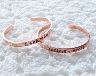 Custom Personalized Handcrafted Stamped Child's Cuff Bracelet Your Choose Name, Word or Phrase on Silver Aluminum Brass Copper Bracelet