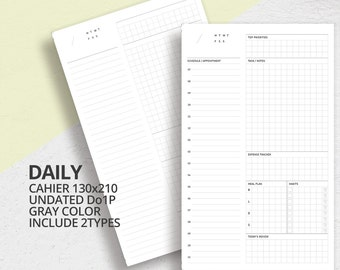 Midori Travelers Notebook Style Cahier Size Insert/Do1p/Printable Undated Daily Planner/Planner Insert/Daily Scheduler/Bullet Journal