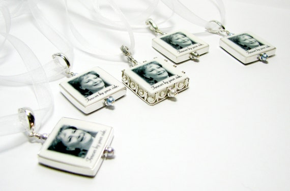 Framed Photo Pendants - Wedding Bouquet Jewelry - Small - FP3Gx5a
