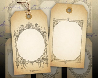 Digital collage sheet Vintage gift tags Instant printable download Best for paper craft, scrapbook - GIFT TAGS