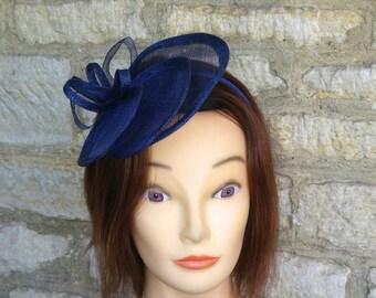 Blue Wedding fascinator navy blue wedding hat cocktail hat statement hat  Derby dark blue races hat christening hat tea party fascinator