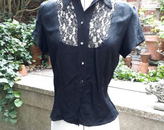 Vintage 1950's black lace fitted blouse size UK 10 / small