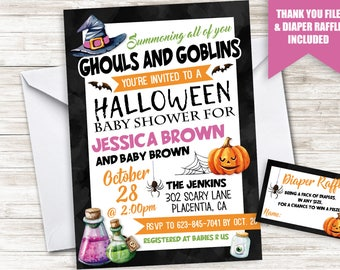 Halloween baby shower invitation etsy halloween baby shower invite invitation digital sprinkle 5x7 gender neutral girls boys filmwisefo Image collections