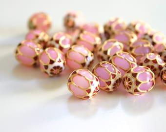 SALE Baby Pink Beads - Meenakari beads (2) 12mmx13mm