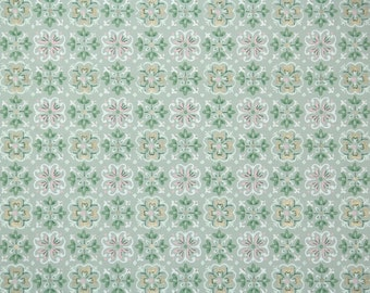 1940s Vintage Wallpaper by the Yard - Pink White and Green Geometric