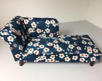 Modern Miniature Dollhouse Chaise Longue Liberty Fabric 1:12 Scale