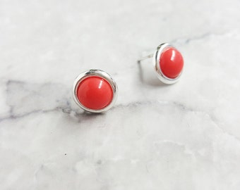 Tiger's Eye Earrings, Coral earrings, sterling silver, 925, coral studs, stone earrings, tiger's eye, natural stone, gift, studs,
