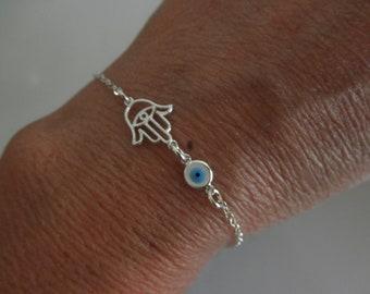 Hamsa hand bracelet with evil eye charm on sterling silver chain