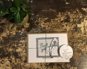 """Pack of 5 thank you notes """"an Elephant never forgets"""""""