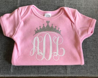 Princess Monogram Baby Girls Bodysuit