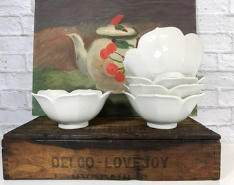 Asian Lotus Bowls - Set of Five - Farmhouse Decor - Mid Century Modern - Serving Bowls - Kitchenware - Clean Lines - White Decor - Gift Idea