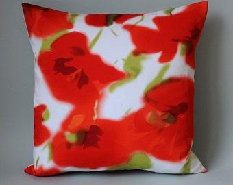 "Pillow Case Pillow Poppy red white cotton poppy blossoms 40 x 40 cm 16 ""x 16"" cushion Pillow cover Pavot Coquelicot"