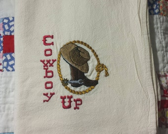 Embroidered Dish Towel  Cowboy Up