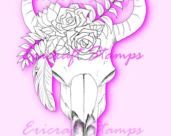 Digital Stamp - Boho Skull - PNG image for cards and crafts by Erica Bruton